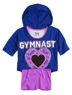 Sports Hooded Crop Over Long Tee   Fashion Graphics   Graphic Tees   Shop Justice