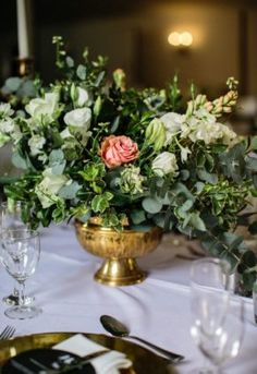 A stunning combination of black, green & gold – with pop of blush, worked so well . Flower Decorations, Table Decorations, April Wedding, Green And Gold, Special Day, Nostalgia, Blush, Seasons, Natural