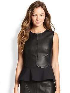 Raoul Leather-Front Peplum Top