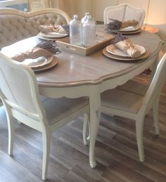 How To Paint A Restoration Hardware Type Finish On A Table - Modern Furniture: Affordable, Unique, Edgy Kitchen Table Redo, Dining Table Chairs, Chalk Paint Kitchen Table, Table Furniture, Painted Table, Dining Table Makeover, Furniture, Shabby Chic Furniture, Dining Room Table Makeover