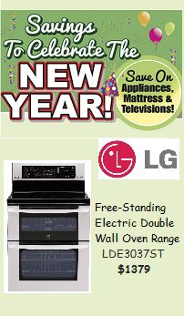 Shop Gerhard's Appliances for great deals on select appliances to celebrate the New Year including an LG free-standing, electric double wall oven for $1379!