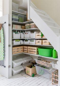 storage under stairs with ALGOT IKEA. Interior design & styling Celine Khemissi for Ikea Algot, Ikea Storage, Pantry Storage, Storage Stairs, Under Stair Storage, Kitchen Organization, Organizing, Understairs Storage Ideas, Organization Ideas