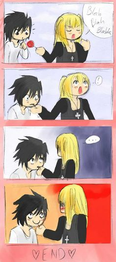 Misa Amane & L Love ♥♥♥>> I think it's funny, but I don't ship it – Best Art images in 2019 Death Note Funny, Death Note デスノート, Yato X Hiyori, Amane Misa, Nate River, L Lawliet, Death Parade, Chef D Oeuvre, Shinigami