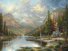 thomas kinkade mountain majesty on lithograph 18'' x 24'' - 1998 Limited Edition