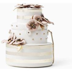 Kate Spade Wedding Belles Flower Wedding Cake ($398) ❤ liked on Polyvore featuring bags, handbags, clutches, kate spade purses, cocktail purse, kate spade, kate spade handbag and evening purses