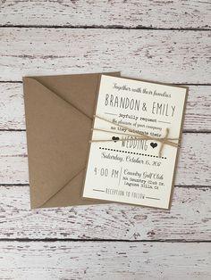 Simple Rustic wedding invitation rustic modern invitation