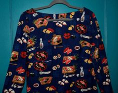 SUSHI Dress Large Cotton Tunic Blue and Red Super Cute Long Sleeve