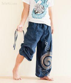 Convertible Aladdin Pants Heavy Cotton Mythical Kanok Swirl Paint (Blue)