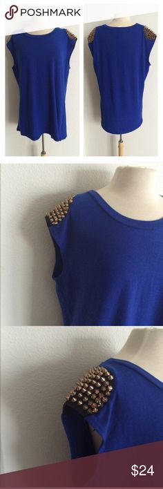"""Blue spike top Blue spiked top. Size 2X. Has a lightweight sweater texture. Measures 30"""" long with a 46"""" bust (stretches well beyond that). Purchased from a retailer on posh, but it doesn't suit me well. 100% polyester. Very stretchy!                              🚫NO TRADES🚫 💲Reasonable offers accepted💲 💰Ask about bundle discounts💰 Tops"""