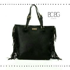 BCBG Paris Fringe Story Tote Fringe detail is on trend but bag still remains classy. Huge tote to carry every essential. Magnetic closure, adjustable handles, fringe stud detail, metal feet. 3 interior pockets and 1 back pocket. 100% polyurethane. BCBG Bags Totes