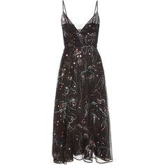 Valentino Printed Silk Dress ($6,160) ❤ liked on Polyvore featuring dresses, valentino, black, silk dress and valentino dress