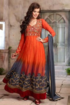 Online Shopping of Orange Net-Georgette Designer Anarkali Salwar Kame from SareesBazaar, leading online ethnic clothing store  offering  latest collection of sarees, salwar suits, lehengas & kurtis