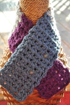 Neckwarmer Wine Grey and Blue by BellaHenryBoutique on Etsy, $25.00