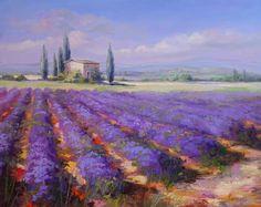 """Lavendel am Plateau d´Albion  Solche Landschaftsbilder sind doch ein Traum! """"Le Provence"""" in Ölmalerei - was will man mehr...ich wünschte ich könnte auch malen..."""