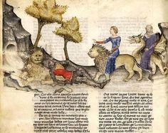 PERCEVAL ET LA QUÊTE DU GRAAL, CHEZ ROBERT DE BORON. Perceval dort à côté du lion qu'il a sauvé …