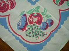 Charming Fruit Print Tablecloth 1940s Cherries and More