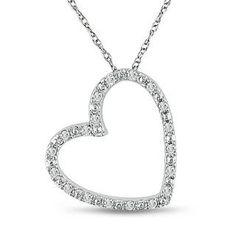 A Vintage Russian Lab Diamond Heart Solitaire Pendant Necklace