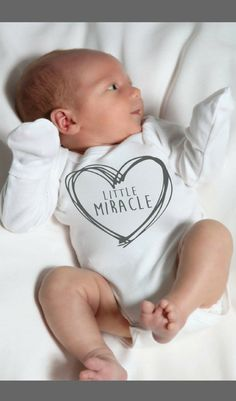 """""""Little Miracle"""" Custom Newborn Bodysuit - Going Home Outfit, Baby Girl Gift, Baby Boy Gift, Baby Shower Gift Idea, Custom Baby Gift, Personalized Newborn Gift, Birth Announcement Photo Props, Birth Announcement Pictures Outfit, Newborn Pictures Ideas, Fold Over Sleeves, Newborn Fingernail Protectors, Unique Gift for Baby, Baby's First Christmas, Baby's First Easter #ad #boyoutfits #christmaspictures"""
