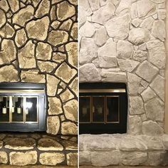 """From Blah Blah """"Stone fireplace update with Classico Limewash. - From Blah Blah """"Stone fireplace update with Classico Limewash. Stone, Limewash, Stone Fireplace Makeover, Masonry Fireplace, Stone Houses, Exterior Stone, Painted Stone Fireplace, Fireplace Decor, Fireplace"""