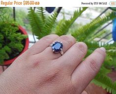 Blue sapphire ring Prong set ring  Faceted ring  by Studio1980