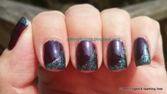 Glittery Fingers & Sparkling Toes: Purple and Turquoise Swoop French Tip