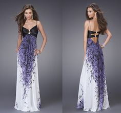 Long Formal Dresses | prom dresses with black fabric at bust Beautiful printed long dresses ...