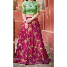 Pink And Green Silk Embroidered Lehenga