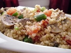 Quinoa with Mushrooms, Tomatoes & Scallions (makes 2-3 lunch servings; total cost per serving: ~$2)