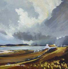 Across the sound Hebrides Scotland Oil on canvas 70x70cm