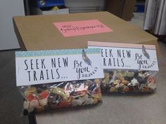 MOPS Be You Bravely Made these Trail mix bags for MOPS Steering/Leadership Retreat!