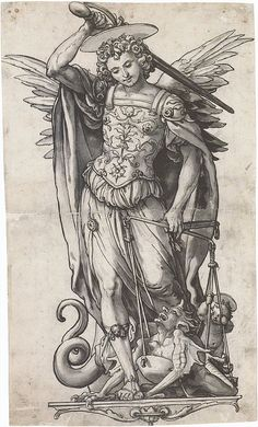 The Archangel Michael Weighing Souls, by Hans Holbein the Younger - my favorite saints of all time! St Michael, pray for us! Angels Among Us, Angels And Demons, Michael Angel, Hans Holbein The Younger, Archangel Gabriel, Archangel Michael Tattoo, St Michael Tattoo, Ange Demon, Desenho Tattoo