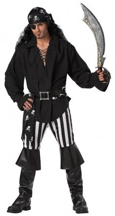 Black Swashbuckler Costume Shirt - This is a black Pirate tunic. The one-piece costume accessory has a collar and v-neck that laces up. It has cuffs that fasten close with Velcro. Wear this for Halloween to complete your Victorian, Steampunk or other period costume. #pirate #yyc #costume