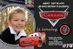 Hey, I found this really awesome Etsy listing at https://www.etsy.com/listing/158676048/disney-cars-invitation-with-photo-you