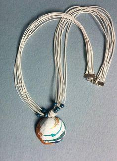 Real sea shells necklace Sea organic seashell turquoise Ocean Nautical Pendant Summer Wedding Beach Mermaid hand painted beach SALE