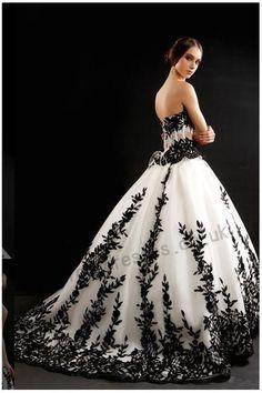 Gorgeous Black and White Wedding Dress Strapless - Wedding- Gothic ...