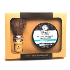 Elvado Classic Shave Gift Set with Fragrance Free Soap and Shave Brush