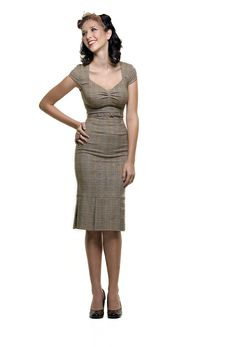 Stop Staring 40's Style Brown Heather Plaid Wiggle Dress - S to 3X - Unique Vintage - Pinup, Holiday & Prom Dresses.