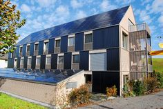 Kraftwerk B, Bennau, Switzerland by Joseph Grab. Plus energy building with integrated PVs and solar thermal panels