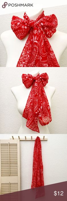 "Long Sheer Red Scarf with Bandana Paisley Print❤️ 100% polyester. Red background with white print. Measurements: 13.5"" wide x 63"" long. Light and airy. Perfect accent piece with white or navy. NWT. Accessories Scarves & Wraps"