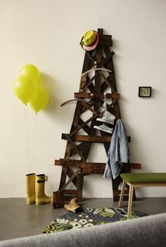fun coat rack from reclaimed wood - the Eiffel Tower?