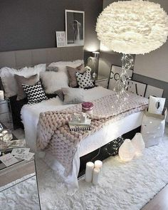 Follow me for more ideas and daily pins. #whiteandgreybedroom #bloggerbedroom #cozy #furrug