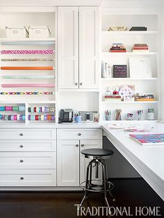 I like the mix of closed/open storage and all white cabinetry makes coloured materials pop.