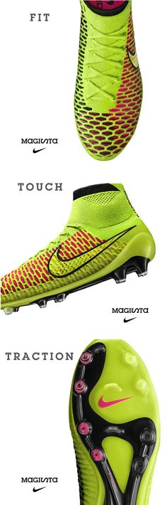 Nike Magista is built for unstoppable playmaking.  FIT -  Dynamic Fit collar delivers a sock-like fit.  TOUCH - Flyknit upper provides closer ball feel and improved touch.  TRACTION -  Pebax nylon plate with conical stud pattern for 360° rotational traction.