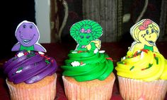 Barney Party ~ Desserts ~ Cupcakes (frost cupcakes either purple, green, or yellow and put sprinkles on them. Print out images from the Internet and glue on Popsicle stick or toothpick and insert accordingly)