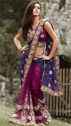 Purple and blue Sari