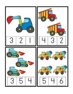 Good for unit 6 preschool printables: construction vehicles pre k, transportation preschool activities, Numbers Preschool, Preschool Printables, Preschool Worksheets, Preschool Learning, Kindergarten Math, Math Activities, Teaching, Transportation Activities, Creative Curriculum