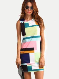 Color Block Sleeveless Zipper Back Dress