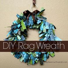 This simple DIY tutorial on how to make a rag wreath will have you running to the store right now to gather the supplies to make this simple, yet beautiful craft.