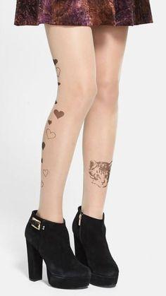 Tattoo tights: Kitties and Hearts