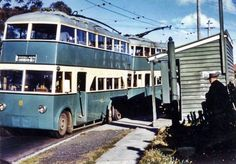 The Dolls Point trolleybus, parked at the Russell Avenue, bus terminus . ca.1940. Image shared by Rockdale City Library, NSW, from their local history collection. v@e.